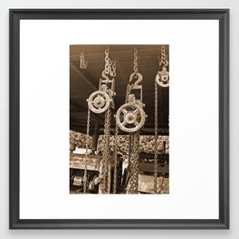 Chains & Tackle Sepia Framed Art Print