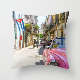 Colorful building streets in Cuba Throw Pillow