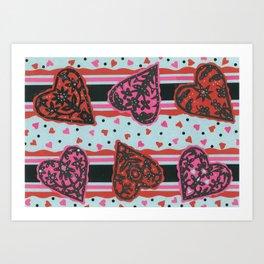 Floral Heart Papercut Stripe by  Nettwok2Design - Nettie Heron-Middleton Art Print