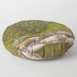 Peaceful river view with rocks Floor Pillow