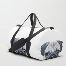 pug Dog illustration original painting print Duffle Bag
