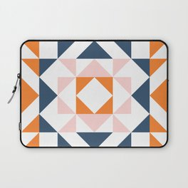 Cute Geometric Quilt Block in Retro Beach Vibes Color Laptop Sleeve