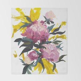 pivoine violette avec jaune Throw Blanket