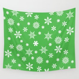 Snow Flurries-Christmassy Green Wall Tapestry