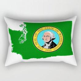 Washington Map with State Flag Rectangular Pillow