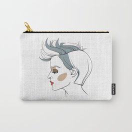 Woman with trendy haircut. Abstract face. Fashion illustration Carry-All Pouch