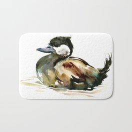 Ruddy Duck, duck children illustration, cute duck artwork Bath Mat