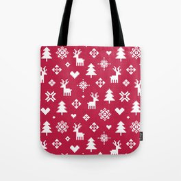 PIXEL PATTERN - WINTER FOREST RED Tote Bag