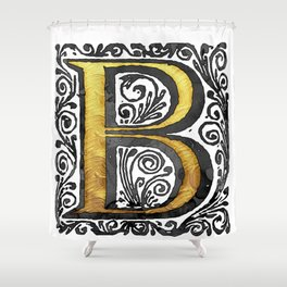Beautiful Monogram Letter 'B' Vintage Style Shower Curtain