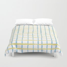 Pastel yellow teal watercolor geometrical checker stripes Duvet Cover