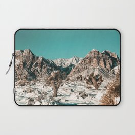 Vintage Cactus Snow & Mountains // Desert Landscape Photograph in the Mojave at Winter Red Rocks Laptop Sleeve