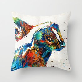 Colorful Skunk Art - Dee Stinktive - By Sharon Cummings Throw Pillow