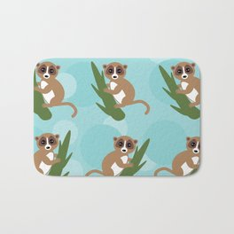 pattern - lemur on green branch on blue background Bath Mat