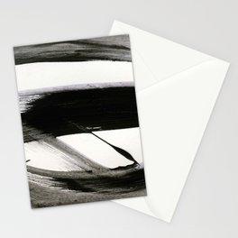 Brushstroke 9: a bold, minimal, black and white abstract piece Stationery Cards
