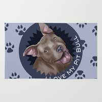 pit bull Area & Throw Rugs featuring I ❤ My Pit Bull by Art by Nik