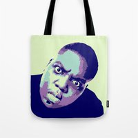 biggie Tote Bags featuring Biggie by victorygarlic
