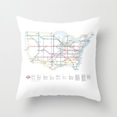 Interstate Highways as a Subway Map Throw Pillow