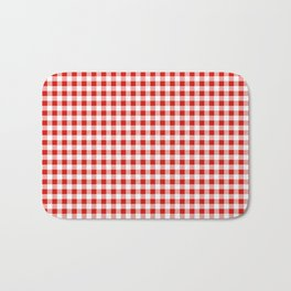 Christmas gingham pattern red and green cute gifts home decor for the holidays Bath Mat