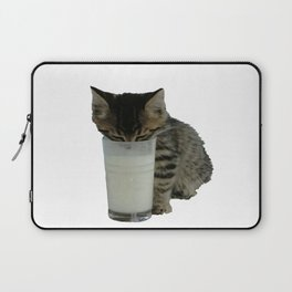 Cute Wild Kitten With A Glass Full of Optimism Laptop Sleeve