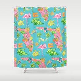 Florida map / flamingo pattern Shower Curtain
