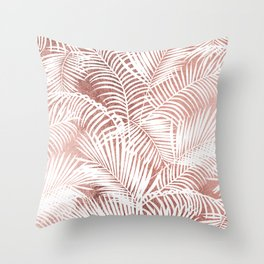 Modern elegant white faux rose gold palm tree Throw Pillow
