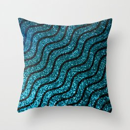 Blue Glitter With Black Squiggle Pattern Throw Pillow