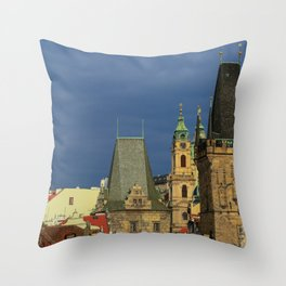Sunny View on Prague from Charles Bridge (Karlovy Most) Throw Pillow