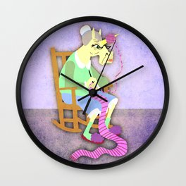 Yarn Holder Unicorn Wall Clock