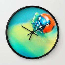 Ladybug in Aqua Mood Wall Clock