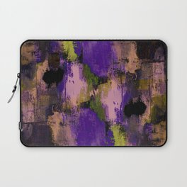 Abstract Nature - Textured, blue, yellow, pink, lilac, purple, black and orange painting Laptop Sleeve