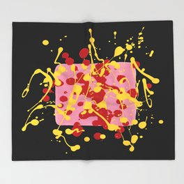 Paint Dance Pink Square Yellow Red on Black Throw Blanket