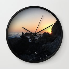 Sunset on a Big Sur Beach with Crashing Waves Wall Clock