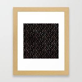 Black & Rose Gold Star Pattern Framed Art Print