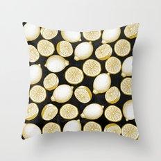 Lemons on black background Throw Pillow