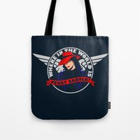 peggy carter Tote Bags featuring Where in the World is Peggy Carter? by Aaron Synaptyx Fimister