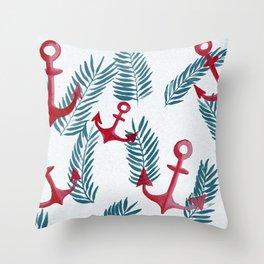 anchor jungle Throw Pillow