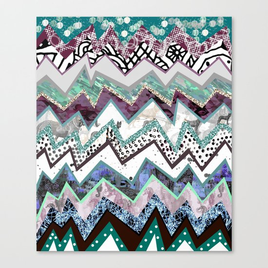 Cool Blues Zigzags Abstract Canvas Print