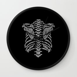 spine ribcage anatomical doodle intricate white on black Wall Clock