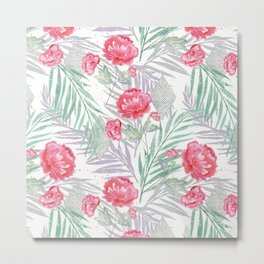 Carnations on a white background. Metal Print