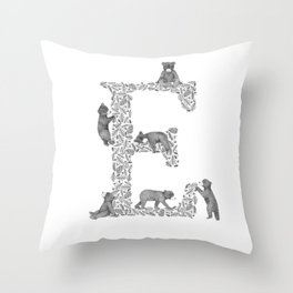 Bearfabet Letter E Throw Pillow