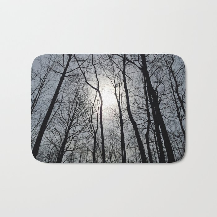 White Sky, Black Trees Bath Mat