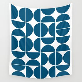 Mid Century Modern Geometric 04 Blue Wall Tapestry