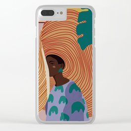 Woman in hat - summer hide Clear iPhone Case