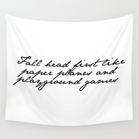 lyrics Wall Tapestries featuring Lyrics by Lucy Helena