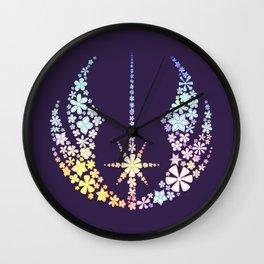 Multicolored Floral Jedi Symbol on Purple Wall Clock