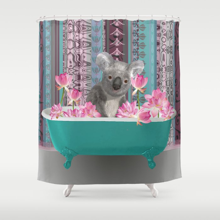 Bathtub with koala and lotus Flower Blossoms pink Shower Curtain