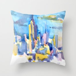 blue icing, print or original watercolor painting by Jessie Novik from rooftop view overlooking NYC Throw Pillow