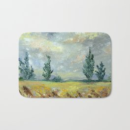 New Zealand Landscape - Impressionist Fields Near Cambridge Bath Mat