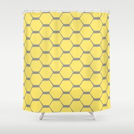 Grey and Yellow Hexagons Shower Curtain