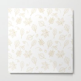 Autumn foliage pattern with gold leaves, acorns Metal Print